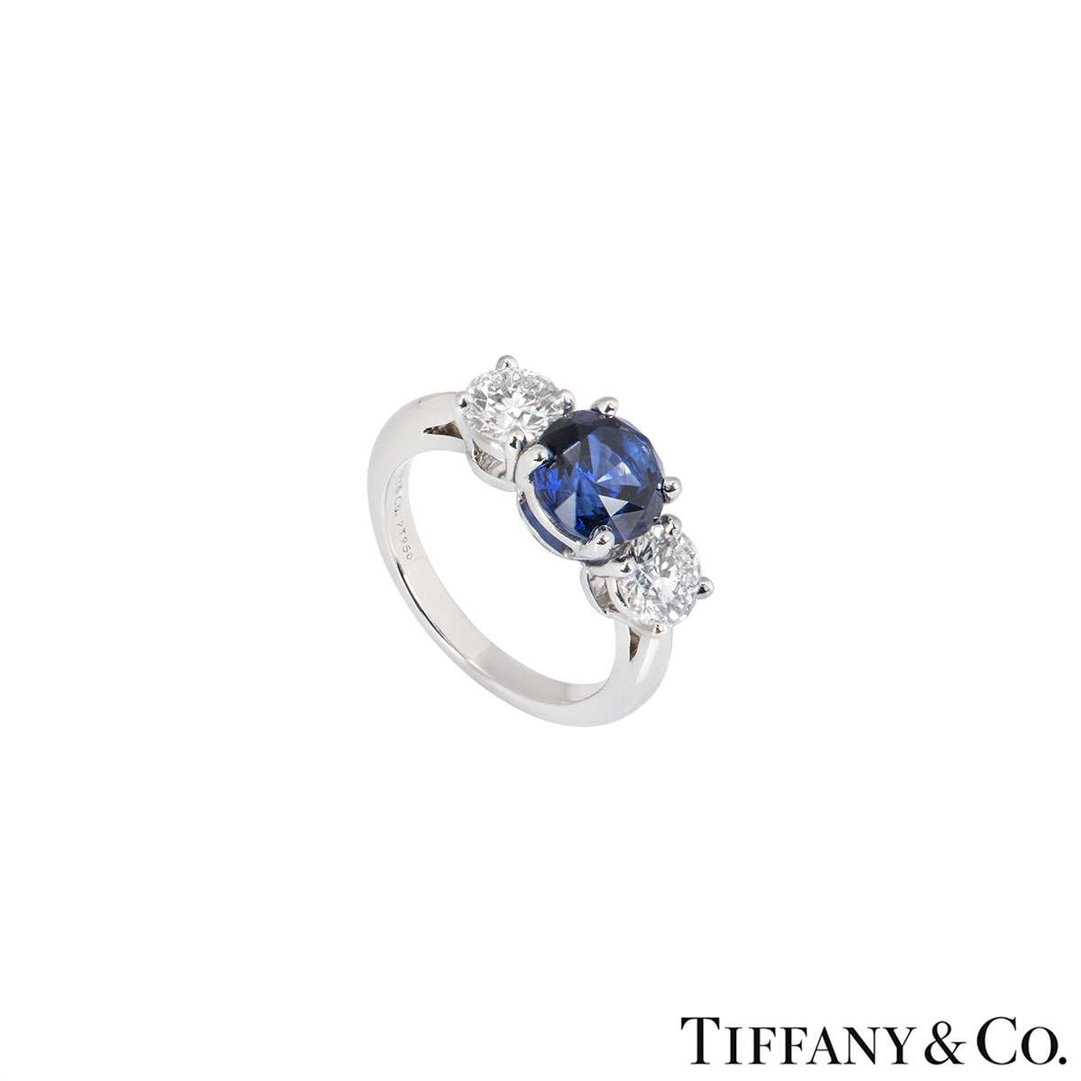Tiffany & Co. Three Stone Diamond and Sapphire Platinum Ring